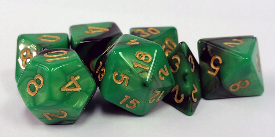 Green/Black Swirl Dice