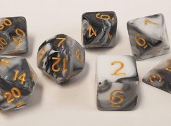 Black and White Swirl Polyhedral Dice Set