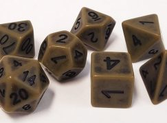 Olive Drab Old Look Polyhedral Dice Set