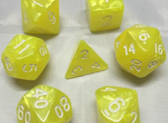 Bright Yellow Pearl-Look Dice Set