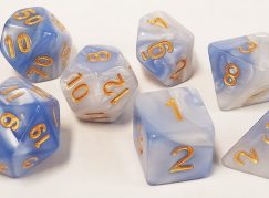 Cloud Swirl White and Blue Polyhedral Dice Set