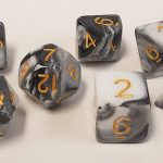 Black/White Swirl Polyhedral Dice Set