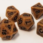 Antiqued Gold Polyhedral Dice Set
