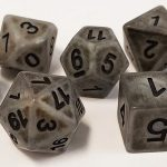 Gray Antiqued Polyhedral Dice Set