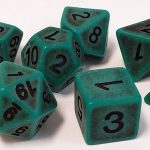 Green Antiqued Polyhedral Dice Set