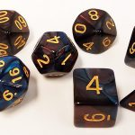 Midnight/Red Swirl Polyhedral Dice Set