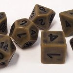 Olive Drab Antiqued Polyhedral Dice Set
