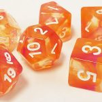 Orange/Purple Swirl Translucent Polyhedral Dice Set