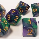 Purple/Green Swirl Polyhedral Dice Set
