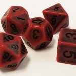 Red Antiqued Polyhedral Dice Set