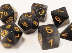 Black and Gray Marbleized Polyhedral Dice Set