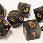 Black/Gray Marbleized Polyhedral Dice Set