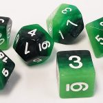 Green Gradient Polyhedral Dice Set