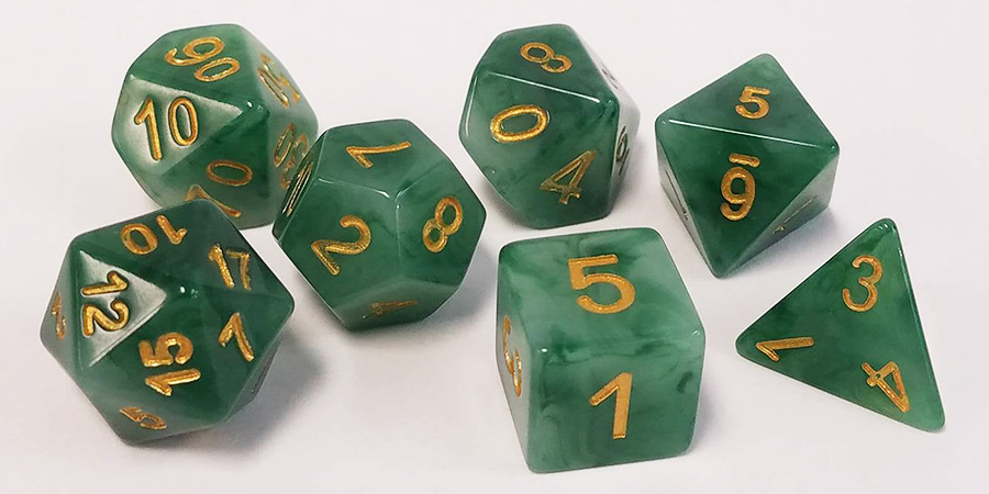 Jade Look Polyhedral Dice Set